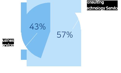 또한 사업분야별 매출 비중은 Business Services가 38%, Consulting & Technology Service가 66%를 차지하고 있습니다.